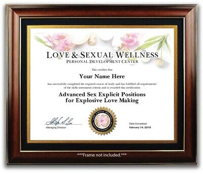 Advanced Sex Explicit Positions for Love Making Certificate / Diploma Kama Sutra