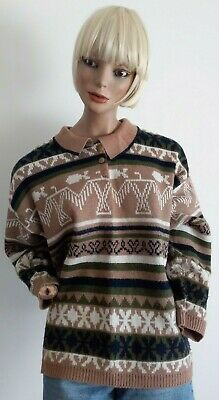 KATIES Vintage 80s Aztec Style Print L/S Knitwear Top with Collar Size S-M