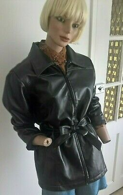 Vintage 90s SILHOUETTE Black Vinyl Jacket with Sash Tie and Pockets size 12/M