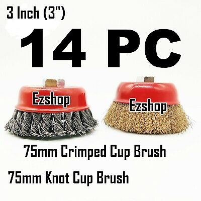 "14pc 3"" Twist Knot & 3"" Crimped Cup Wire 5/8""-11 Threaded Arbor Wire Cup Brush"