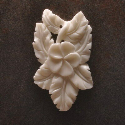 Hand Carved Flower Natural Buffalo Bone 60X35X4Mm Pendant Bead