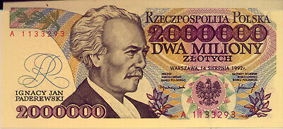 POLAND: 2 000 000 ZLOTYCH  UNC and SCARCE  1992    NO  RESERVE