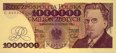 POLAND: 1 000 000 ZLOTYCH  UNC and SCARCE  1991    NO  RESERVE