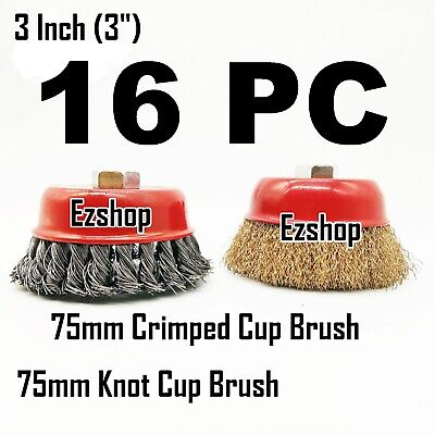 """16pc 3"""" Twist Knot & 3"""" Crimped Cup Wire 5/8""""-11 Threaded Arbor Wire Cup Brush"""