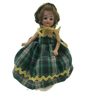 """Antique German Bisque Doll Small Doll House Sized 7.5"""" Composition Body As Is"""