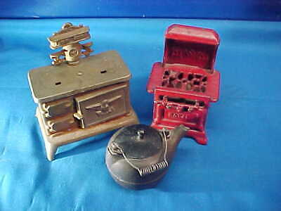 2-1920s CAST IRON TOY STOVES Royal + Eagle
