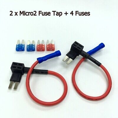 2 x FH146 ATR Micro2 Add-A-Circuit Tap Fuse Holder Adapter +10A 15A Fuse #UK8