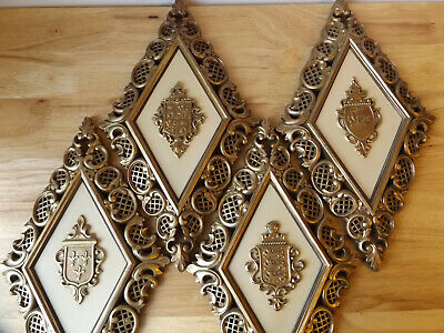 VTG MCM SYROCO Diamond Shaped COAT OF ARMS Crests Wall Hanging Plaques