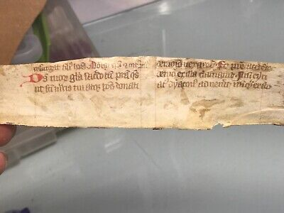 Vellum manuscript fragment salvaged bookbinding medieval 15th Cent. German