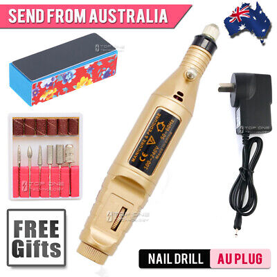 Gold Electric Nail Drill Machine with Spare Bits Sanding File Travel AU Plug 66G