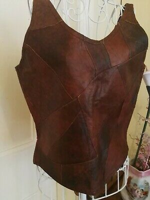 Retro Sleeveless Brown Patchwork Soft Leather Top
