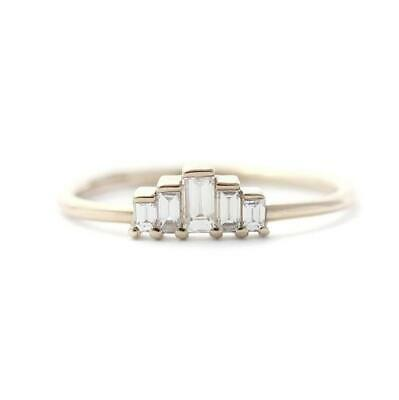 0.50 Ct Baguette Cut Diamond 5-Stone Engagement Ring Ladies 14K Yellow Gold Over