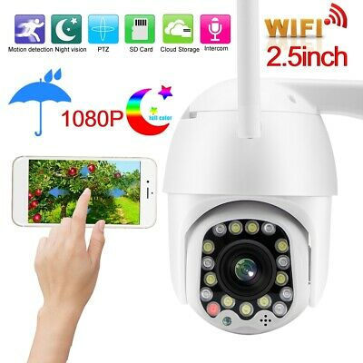 "Wireless Camera 2.5"" 1080P HD WiFi IR PTZ Dome Security 17/23-LED Night View"