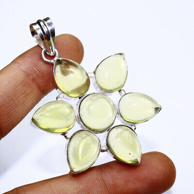 Yellow Chalcedony Fashion Jewelry .925 Silver Plated Pendant  A00395