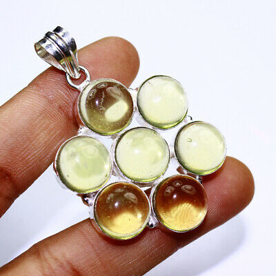 Yellow Chalcedony Fashion Jewelry .925 Silver Plated Pendant  A00396