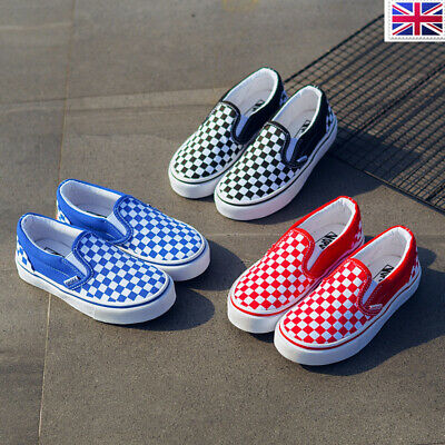 Plaid Canvas Shoes Slip On Kids Sneakers Trainers Casual Skate Boys Girl Outdoor