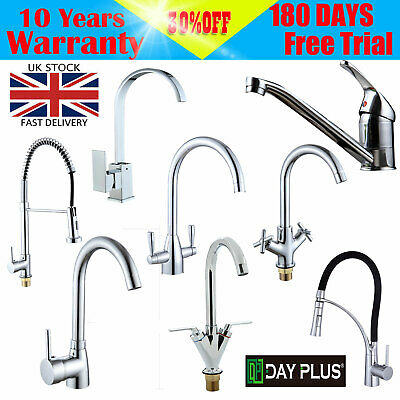 Modern Monobloc Kitchen Mixer Tap with Pull Out Hose Spray Single Lever Chrome