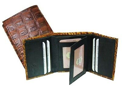 Men/'s Genuine Leather Alligator skin Embossed Trifold Cowboy Wallet New Red