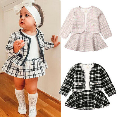US Cute Toddler Baby Kids Girl Outfits Party Casual Dress Plaid Dresses Coat