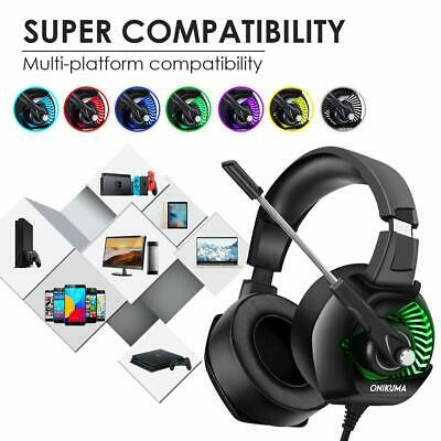 3.5mm Wired 7.1 Gaming Headset LED Headphone For PC Laptop PS4 Xbox One With Mic