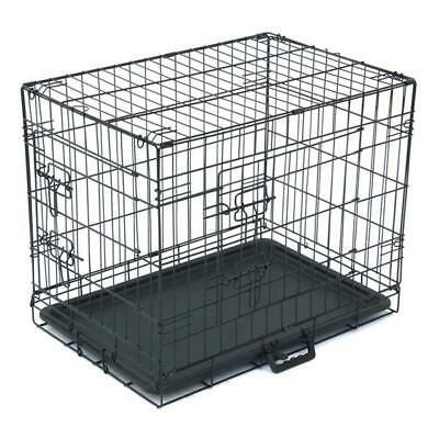 """48""""/42""""/36""""/30""""/24"""" Pet Kennel Cat Dog Folding Crate Wire Metal Cage Tray Pan"""