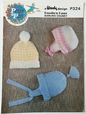 Wendy Peter Pan P324 vintage baby bonnets knitting pattern