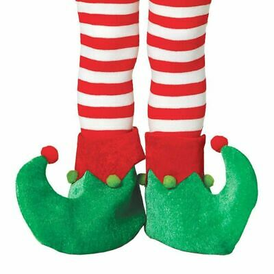 Child Elf Pixie Santas Helper Shoes Red & Green One Size Christmas Fancy Dress