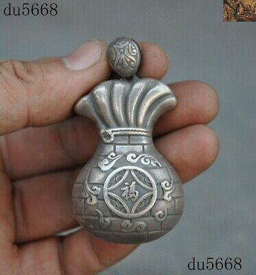 Old Antique China 999 Pure Silver wealth coin bag Bible Exorcism amulet Pendant