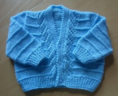 Hand Knitted Baby Cardigan - Blue - 4 ply - 3 - 6 months