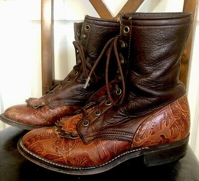 8a6ec2687e45b LAREDO VINTAGE WOMENS Leather Roper Riding Boots Lace Up Made in USA ...