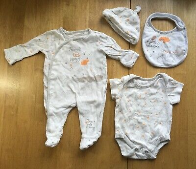 Baby Sleepsuit Vest Bib And Hat Bundle 3-6 Months Boy Girl Neutral Disney Dumbo