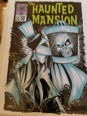 Disney  Postcard Haunted Mansion 50th Anniversary  Hatbox Ghost by Brian Crosby
