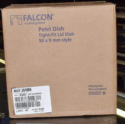 Falcon Corning 351006 Petri Dishes 500 Count Case 50 X 9Mm Tight Fit Lid