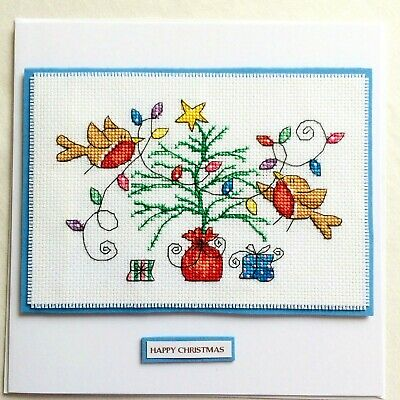 """Handcrafted Completed Cross Stitch Card Large 8 x 8"""" Christmas Robins and Tree"""