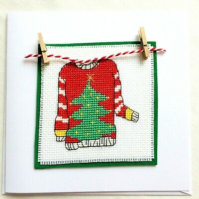 """Handcrafted Completed Cross Stitch Card 6 x 6"""" Christmas Jumper"""