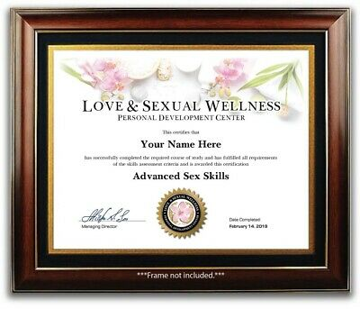 Advanced Sex Skills Certificate / Diploma - Love Sexual Positions Kama Sutra