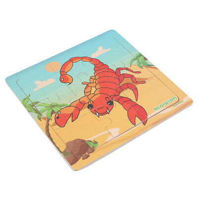 Baby Kids Animal Wooden Scorpion Puzzle Jigsaw Early Learning Educational Toys Y