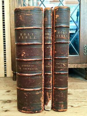 1880 Holy Bible Old & New Testaments, Apocrypha in 3 Folio Vols, Doré,220 plates
