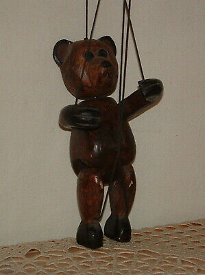 """Antique Wood Carved Teddy Bear Marionette Puppet 10"""" Tall Wooden Vintage Old"""