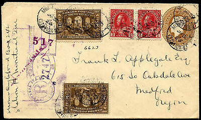1923 13c registered keyhole Montreal, to USA.