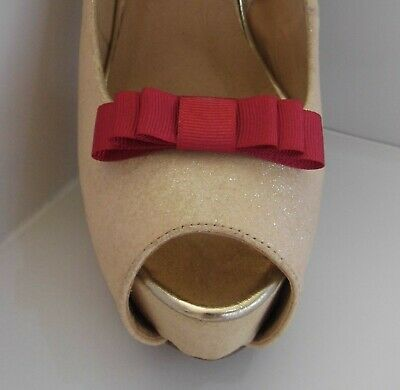 2 Small Triple Burgundy Red Grosgrain Shoe Clips - other colours on request