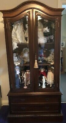 Victorian style Mahogany DISPLAY CABINET with glass doors, Drawers - Solid Wood