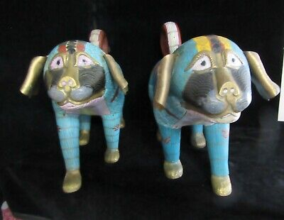 "Vintage Pair of Odd 15"" by 9"" Chinese Cloisonne DOGS ...Puggles ?"
