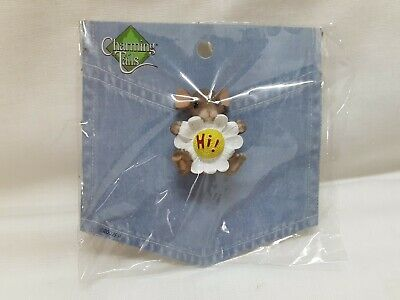 "Charming Tails Daisy Flower Pin Never Opened Package ""Hi"" Excellent Condition"
