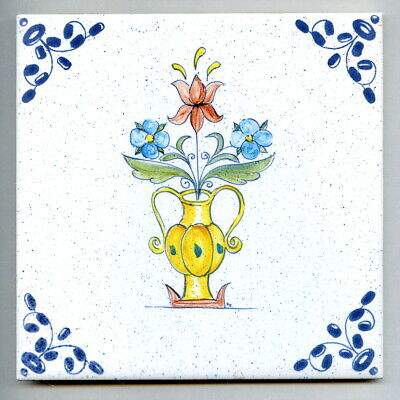"""Handpainted & screen pr 6""""sq tile from the """"Dutch"""" series by Packard & Ord c1985"""