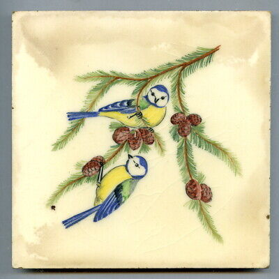 """Handpainted 6""""sq tile from the """"Song Birds"""" series by Packard & Ord, 1949"""
