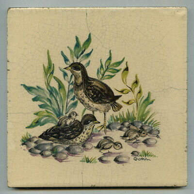 """Handpainted 6""""sq tile from the """"Game Bird"""" series by Packard & Ord, 1956"""