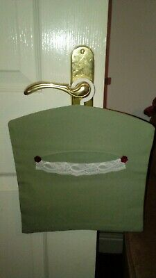 Hand Made Poly cotton Green Peg Bag Vintage Style Lace & Button Detail