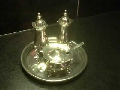 Vintage Viners silver plated cruet set on small tray