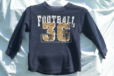 Children's Place Boys Thermal Waffle Knit T Shirt Long Sleeve Football 4T EUC